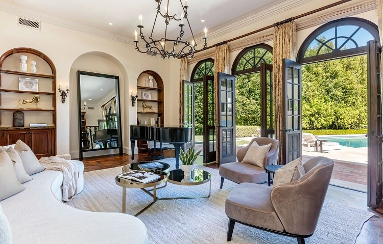 Living room of ultra-luxurious villa on N. Roxbury Drive