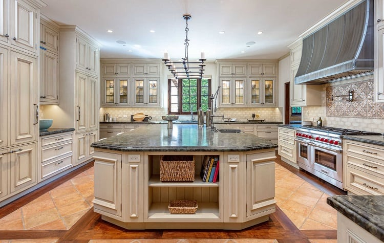Kitchen of ultra-luxurious villa on N. Roxbury Drive