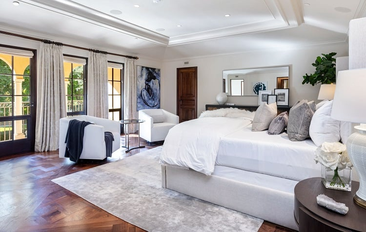 Bedroom of an ultra-luxurious villa on N. Roxbury Drive.